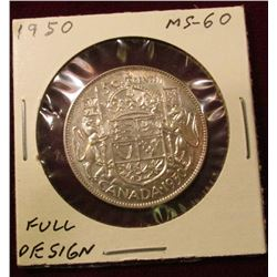 1950 Full design Canada Silver Half Dollar. Unc. Catalog value $35.00.