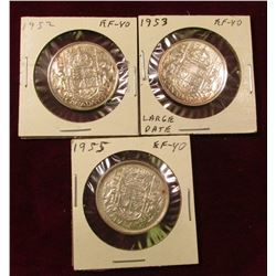 1952, 53 Large Date, & 55 Canada Silver Half Dollars. All EF. Catalog value $58.00.
