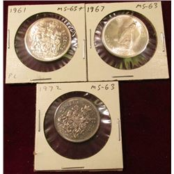 1961, 1967 (Confederation), & 1972 Canada Half Dollars. All Brilliant Unc.
