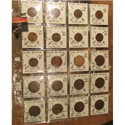 "(20) British Coins Farthings & Half Pennies in 2"" x 2""s and a plastic page. All identified and attri"