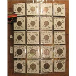 "(20) Mixed British Six Pence and Shilling Coins in 2"" x 2""s and a plastic page. All identified and a"