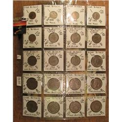"(20) Mixed British Six Pence, Shilling, & 2 Shilling  Coins in 2"" x 2""s and a plastic page. All iden"
