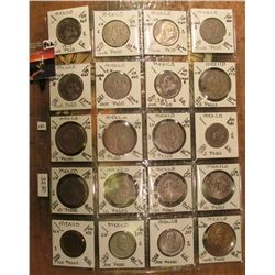 "(20) Mexican Coins 5 Peso to 1,000 Peso in 2"" x 2""s and a plastic page. All identified and attribute"