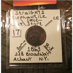 1863 Civil War Token Straights Elephantine Shoe Store, 338 Broadway, Albany, N.Y. Rarity 3. Rulau va