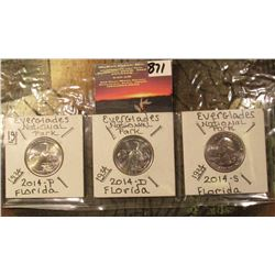 2014 P, D, & S Everglades Parks Quarters. All brilliant Unc. (3 pcs.).
