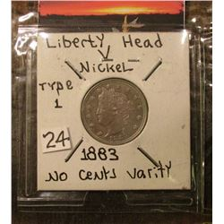 "1883 NC Liberty ""V"" Nickel Brilliant Unc. Red Book value $50.00."