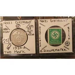 Nazi Germany 1939A Silver Two Mark with Swastika and 5 Mark Postage Stamp.