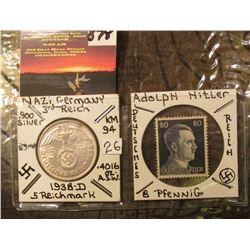 Nazi Germany Silver Five Mark with Swastika and 8 Pfennig Hitler Postage Stamp.