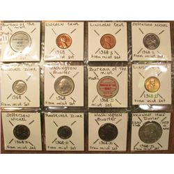 "1968 U.S. Mint Set in 2"" x 2""s and plastic. Includes 40% Silver Half-dollar."