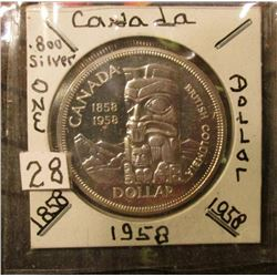 1958 Canada Totem Pole Silver Dollar. Brilliant Unc. KM value $30.00.