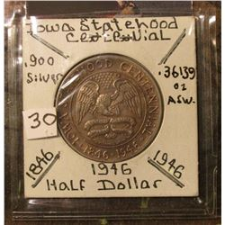1946 Iowa Commemorative Silver Half Dollar. Toned Uncirculated.