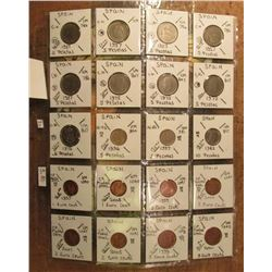 (20) Different Spanish Coins in a plastic page. All attributed. Catalog value $5.80.