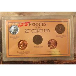 Pennies of the 20th Century 5-piece Set. Includes a 1907 Indian Cent.
