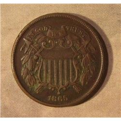 1865 U.S. Two Cent Piece. VF 30.