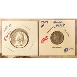 1929 P Mercury Dime VF 20 & 1964 D Washington Quarter in AU.