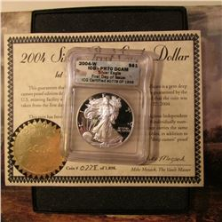 2004 W American Eagle Silver Dollar. ICG PR70 DCAM First Day of Issue. ICG Certified #0078 of 1898,
