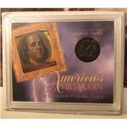1787 Fugio Cent Replica in special holder.