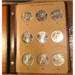 1986-2010 Complete Set of American Eagle .999 fine Silver Dollar One Ounce Coins in a World Coin Lib