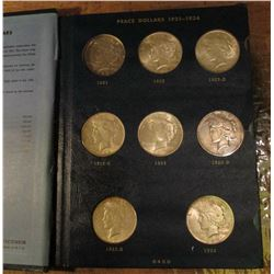 Whitman Peace Dollar Album missing only the 1921 & 28 P Dollars. Grades up to AU. (22 Silver Dollars