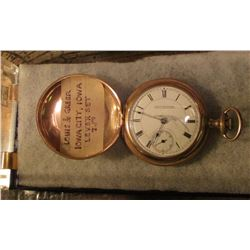 Louis & Greer Iowa City, Iowa 7 Jewel Lever Set Size 18 Pocket Watch. Closed face. Running condition