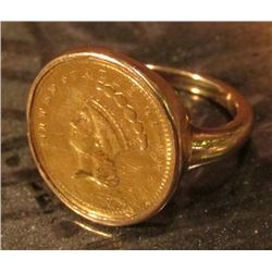 1856 Type 2 One Dollar U.S. Gold Piece in a small Ladies' Ring. Total weight 7.9 grams.
