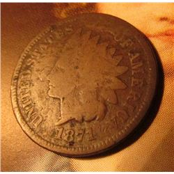 1871 Indian Head Cent. Good obverse/damaged reverse. Red Book $70 in Good.