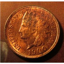 1900 Indian Head Cent. Brilliant red with streaks of brown toned Uncirculated.