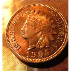 1905 Indian Head Cent. Red-Brown Unc. Complete with a few toning spots.