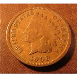 1908 S Indian Head Cent. G+. Red Book $90.00.