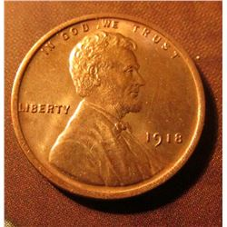 1918 P Lincoln Cent. Brown Uncirculated. Red book value $27.00.