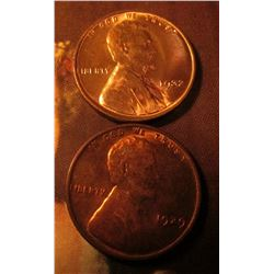 1929 P AU+ & 1932 P Gem BU Lincoln Cents. Red book value $32.00