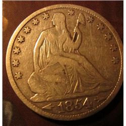 1854 O U.S. Seated Liberty Half Dollar. VG/AG. Good Red book value is $40.00