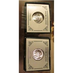 Pair of 1982 D George Washington Commemorative Silver Half Dollars in original Mint issued boxes of