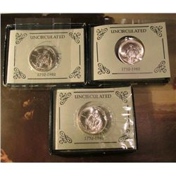 (3) 1982 D George Washington Commemorative Silver Half Dollars in original Mint issued boxes of issu