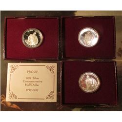 (3) 1982 S Proof George Washington Commemorative Silver Half Dollars in original Mint issued boxes o