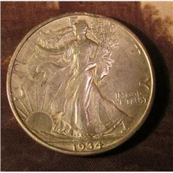 1934 D Walking Liberty Half Dollar. Almost Uncirculated. Red Book value $85.00.