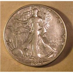 1938 D Walking Liberty Half Dollar. EF-AU. Red Book value $175.00.