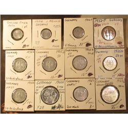 Early German Empire, Weimar, and Reichs Coins: (2) 1917A One Pfennig BU; 1902F Five Pfennig EF; 1932