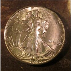 1940 S Walking Liberty Half Dollar. Gem BU. Red book value $80.00.