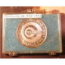 1872-1972 Coralville, Iowa Silver Proof Medallion. Original mintage is supposed to be 100, this is S