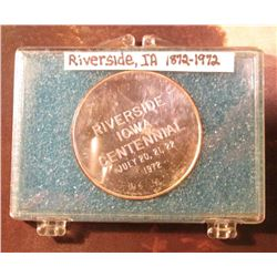 1872-1972 Riverside, Iowa Silver Proof Medallion. Original mintage was 150, all were sold at Auction