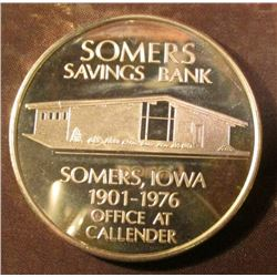 1876-1976 Somers, Iowa Bicentennial Sterling Silver Proof Medallion. Only listed in bronze, it is un
