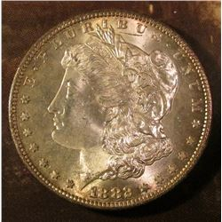 1882 S Morgan Silver Dollar. Brilliant Uncirculated with light gold toning.
