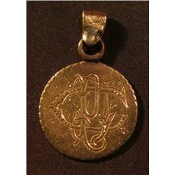 "1889 U.S. One Dollar Gold Love Token with Pendant. Engraved ""Dec. 22, 1889"", Initials engraved on ob"