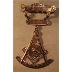 1911 Wm. G. Morton Past Masters Masonic Gold Square and Compass Pendant. I believe it to be 10K Gold