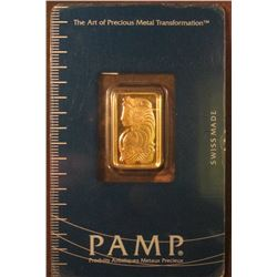 "PAMP ""Suisse 5 Gram Fine Gold"" Certificate Number 895988. Fineness 999.5. In original holder as issu"