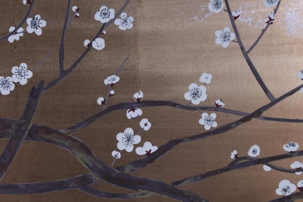 Antique Japanese Painted Silk Room Divider Screen - Cherry blossom room divider screen