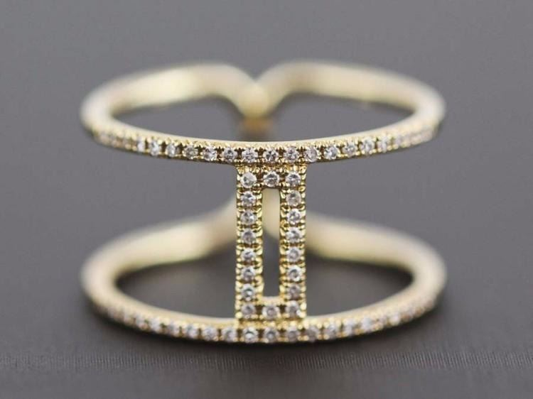 0 20ct Pavé Diamonds Two Vertical Bars 14K Yellow Gold Double Band