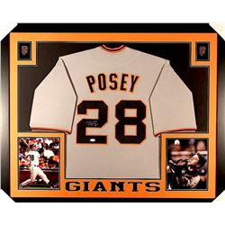 Buster Posey Signed Giants 35x43 Custom Framed Jersey (JSA COA)