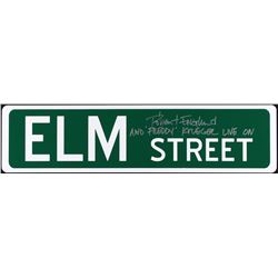 "Robert Englund Signed ""Elm Street"" Full-Size 6"" x 24"" Metal Street Sign Inscribed ""And 'Freddy' Krue"